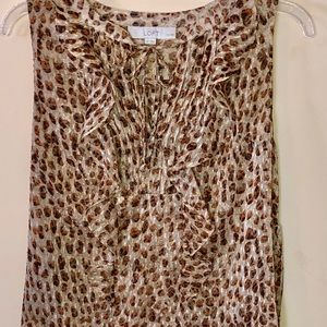 Ann Taylor Loft Animal Print Sleeveless Blouse Top
